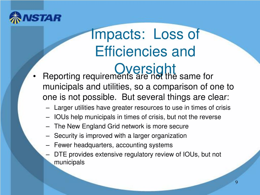 Impacts:  Loss of Efficiencies and Oversight