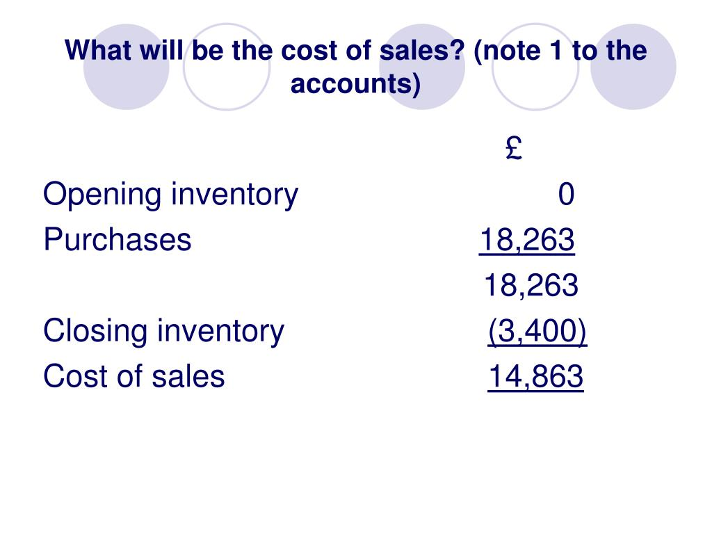 What will be the cost of sales? (note 1 to the accounts)