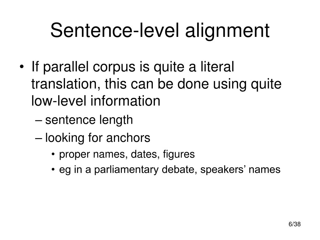 Sentence-level alignment