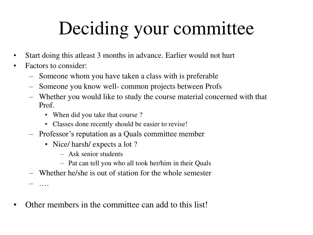 Deciding your committee