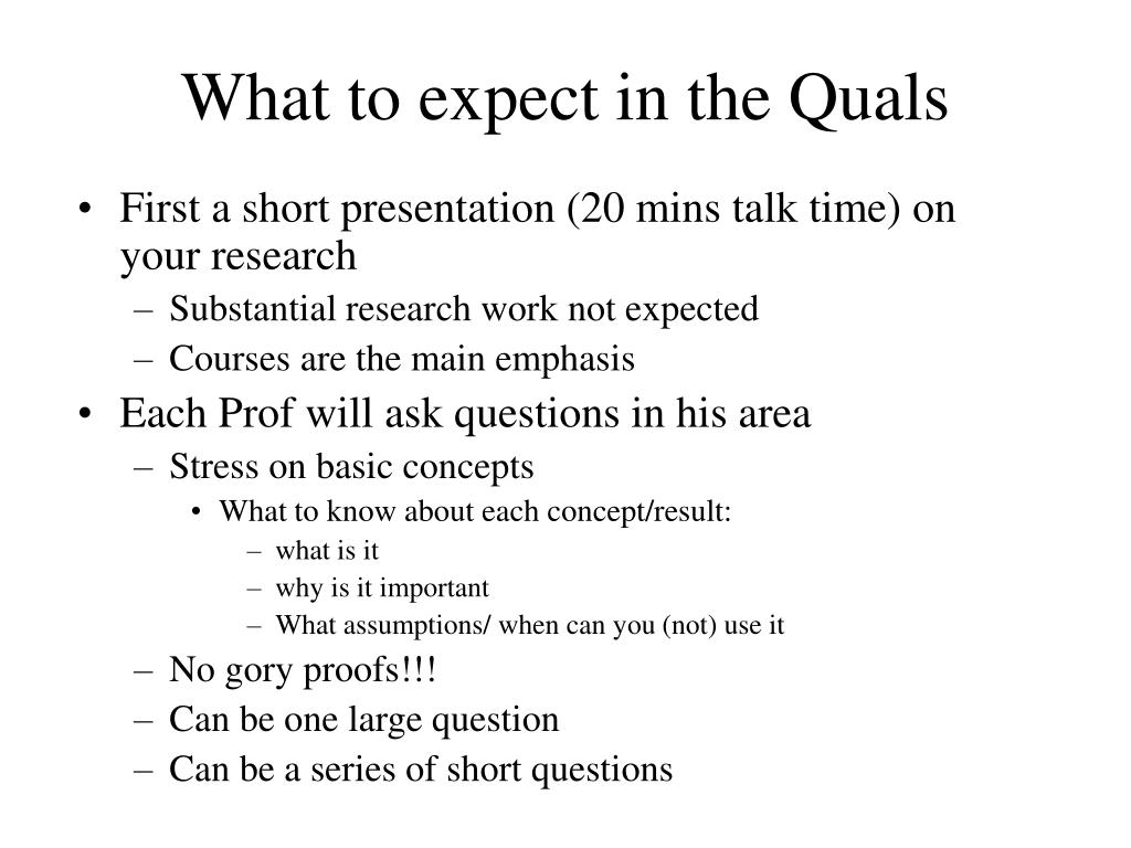 What to expect in the Quals