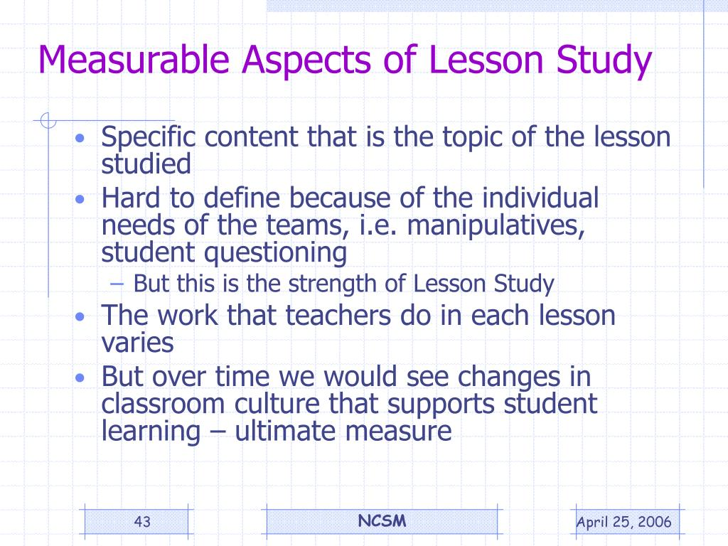 Measurable Aspects of Lesson Study