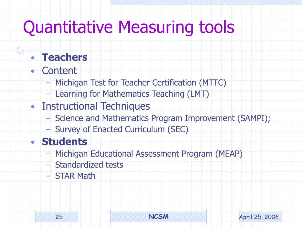 Quantitative Measuring tools