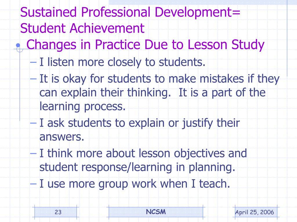 Sustained Professional Development=