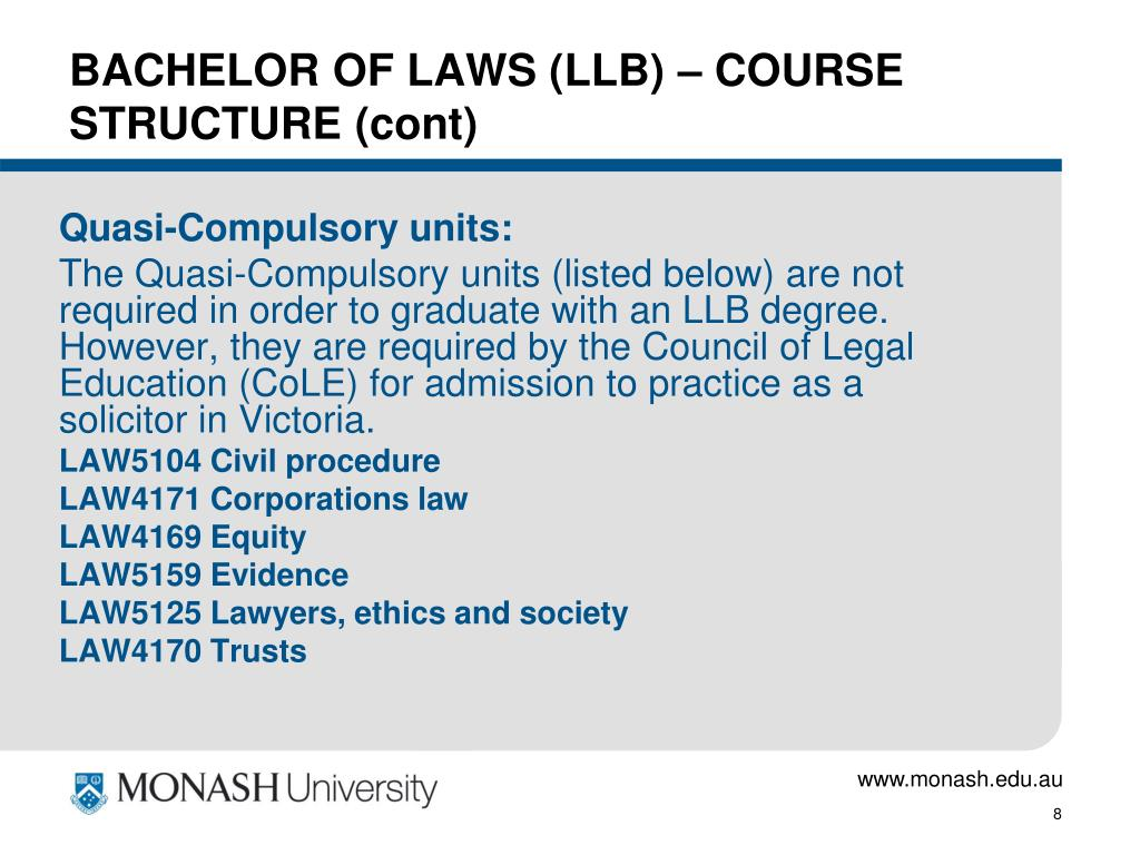 BACHELOR OF LAWS (LLB) – COURSE STRUCTURE (cont)
