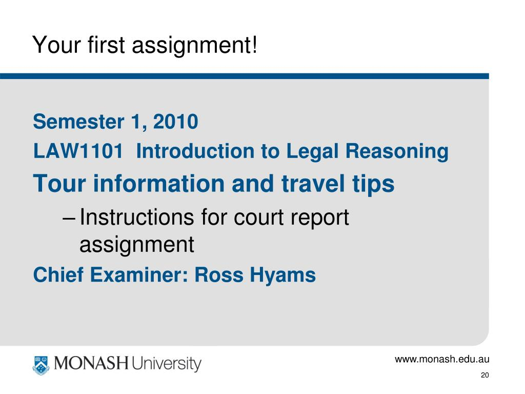 Your first assignment!