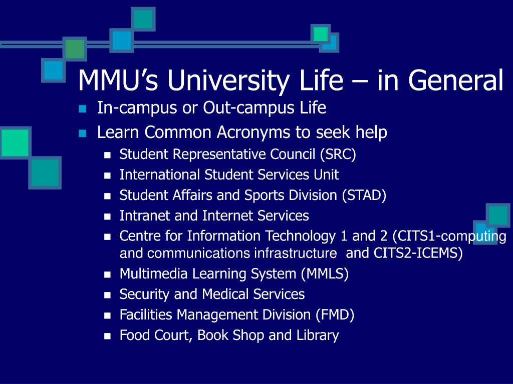 MMU's University Life – in General