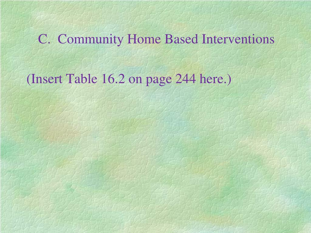 C.  Community Home Based Interventions
