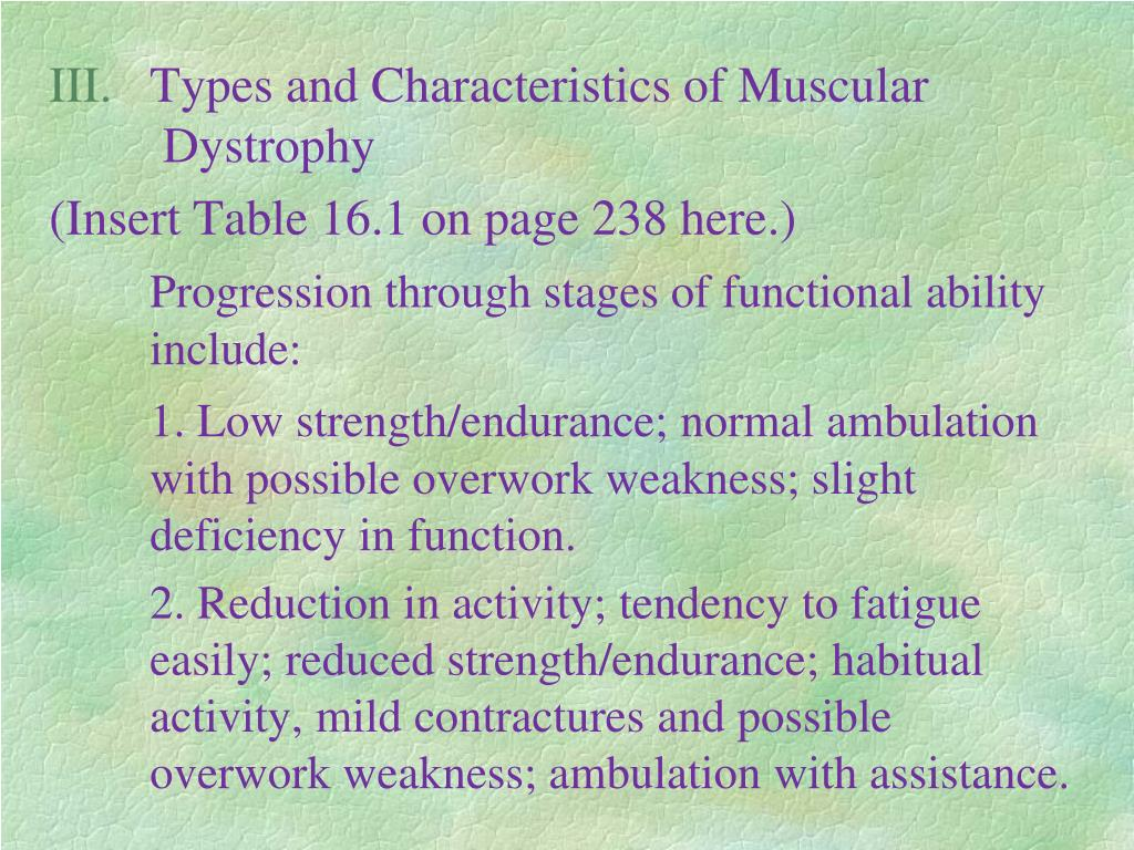 Types and Characteristics of Muscular Dystrophy