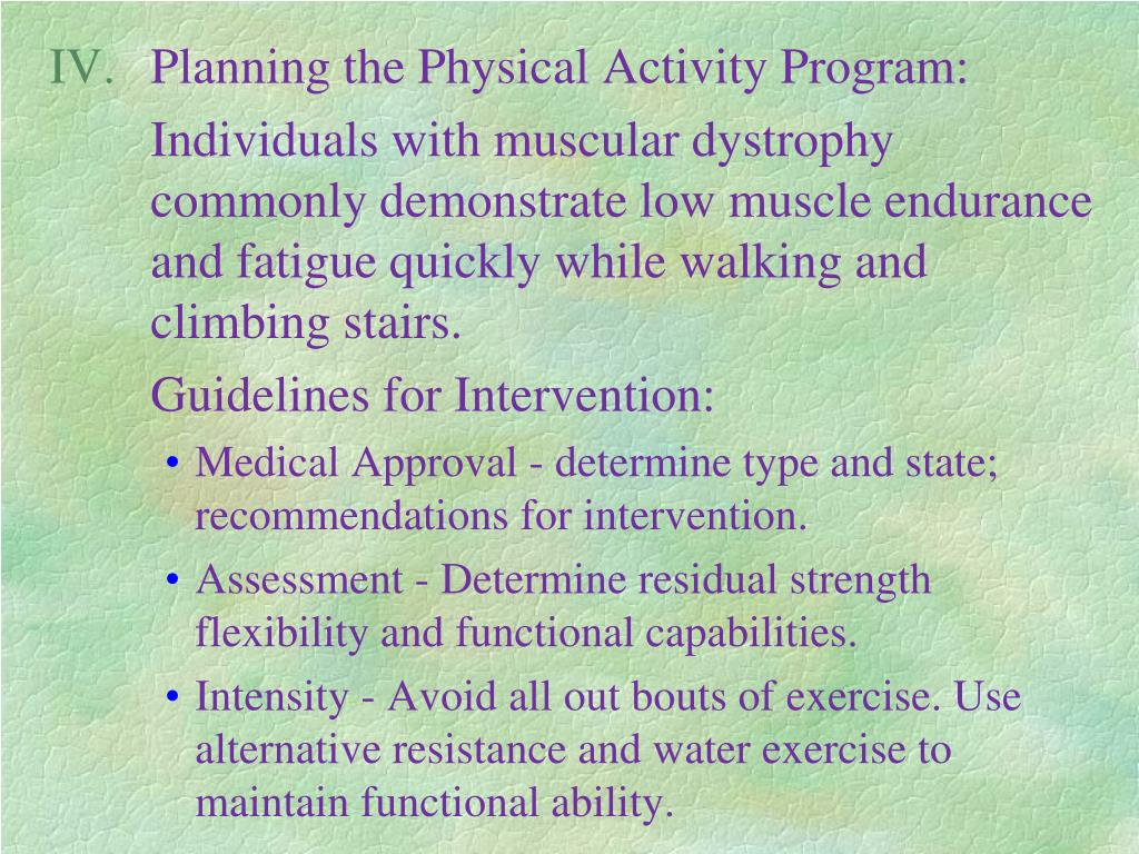 Planning the Physical Activity Program: