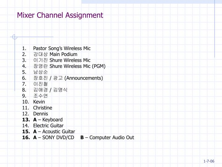 Mixer channel assignment