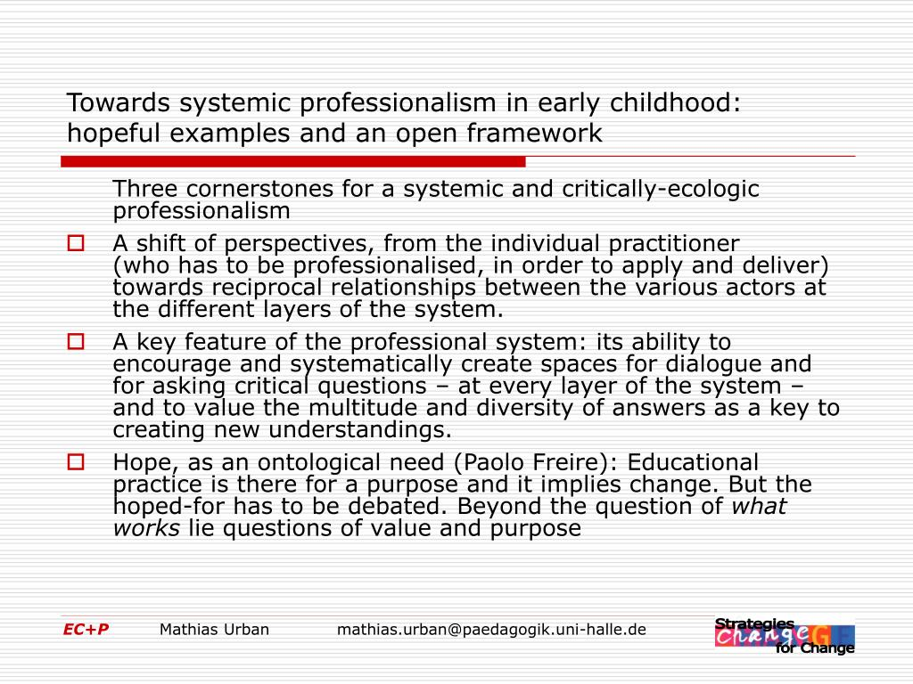 Towards systemic professionalism in early childhood: