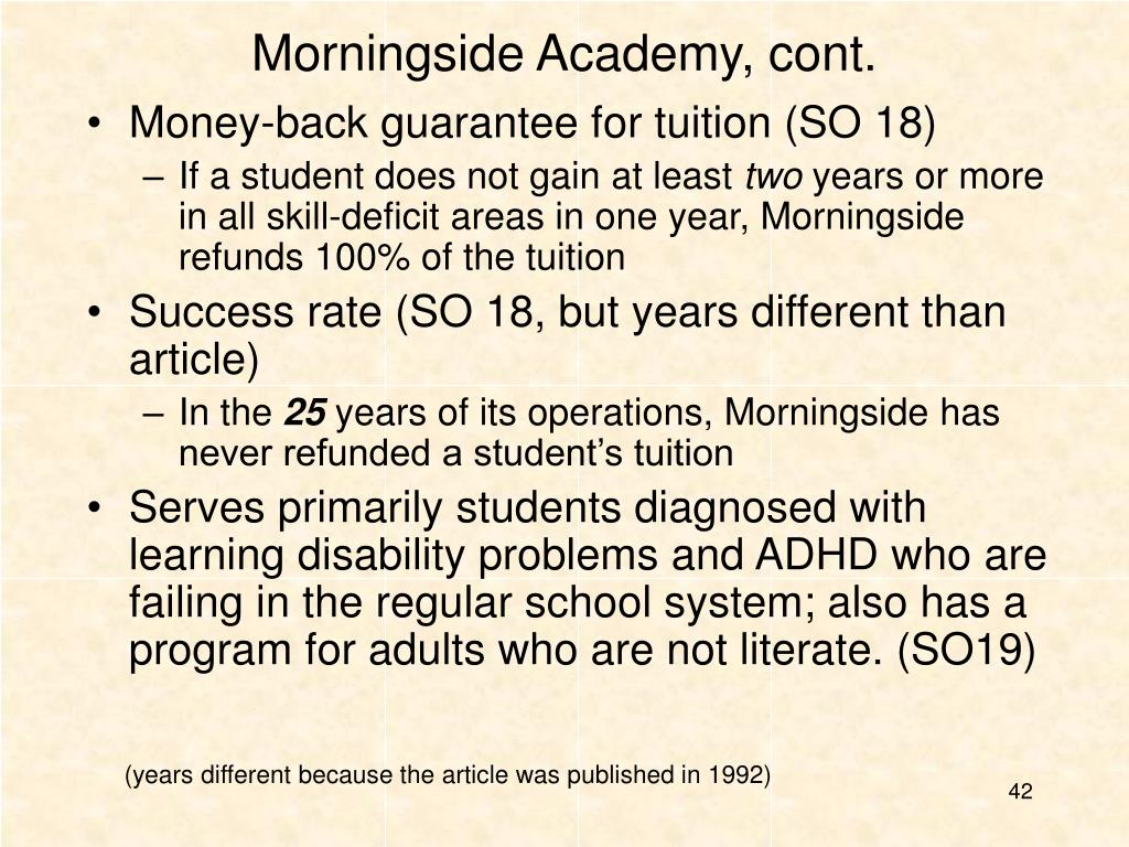 Morningside Academy, cont.