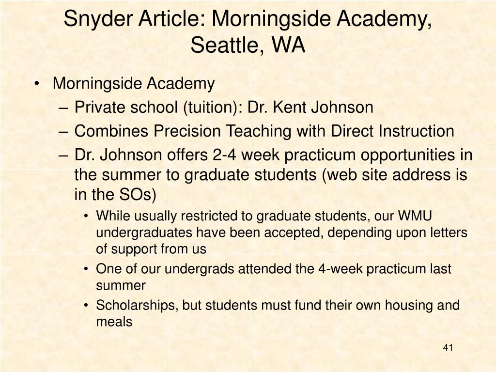 Snyder Article: Morningside Academy, Seattle, WA