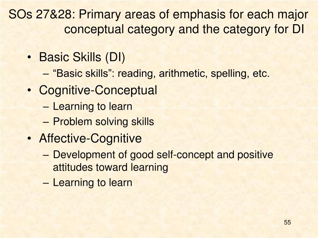 SOs 27&28: Primary areas of emphasis for each major conceptual category and the category for DI