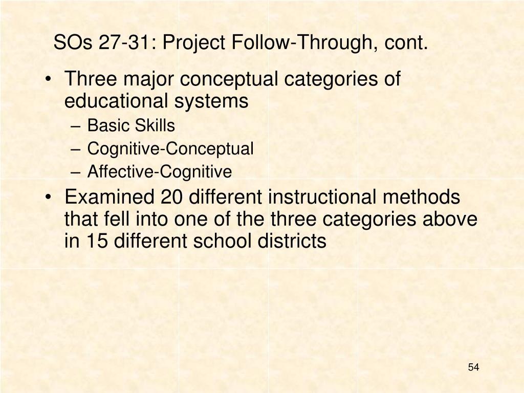SOs 27-31: Project Follow-Through, cont.