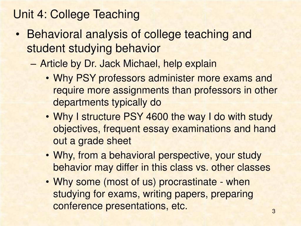 Unit 4: College Teaching