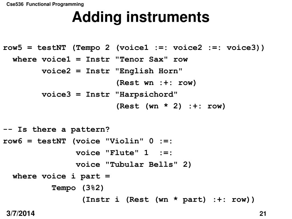 Adding instruments