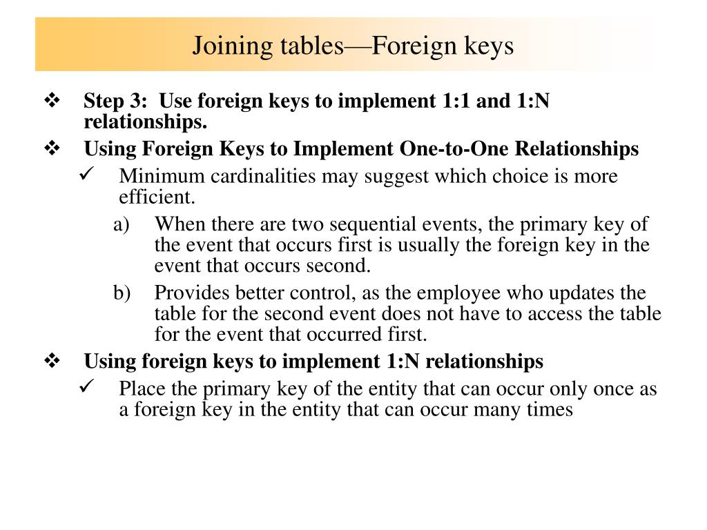 Joining tables—Foreign keys