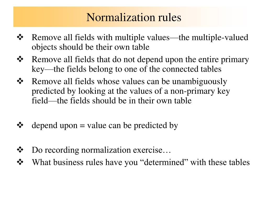 Normalization rules