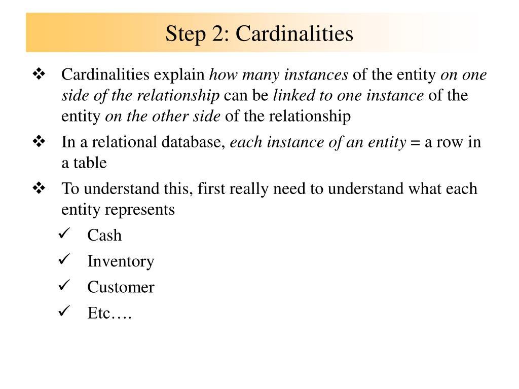 Step 2: Cardinalities