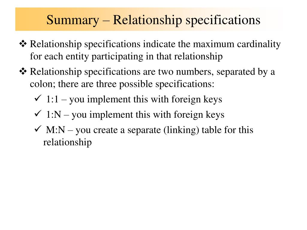 Summary – Relationship specifications