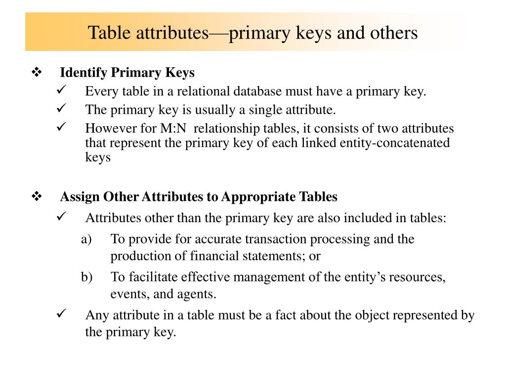 Table attributes—primary keys and others