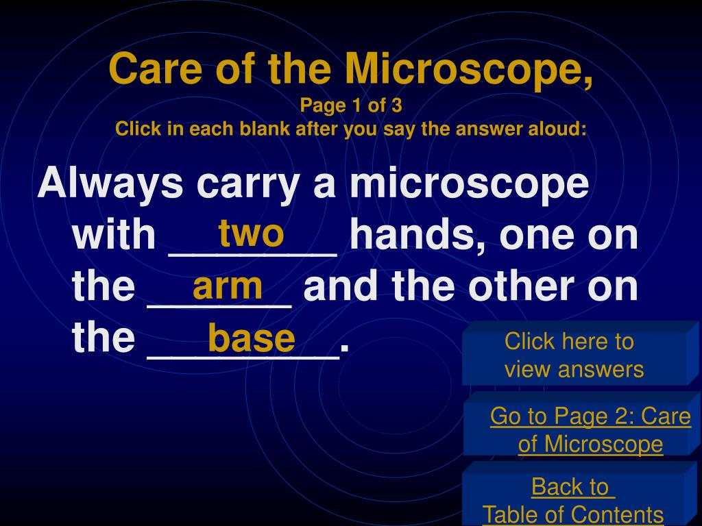 Care of the Microscope,