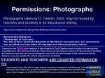 permissions photographs
