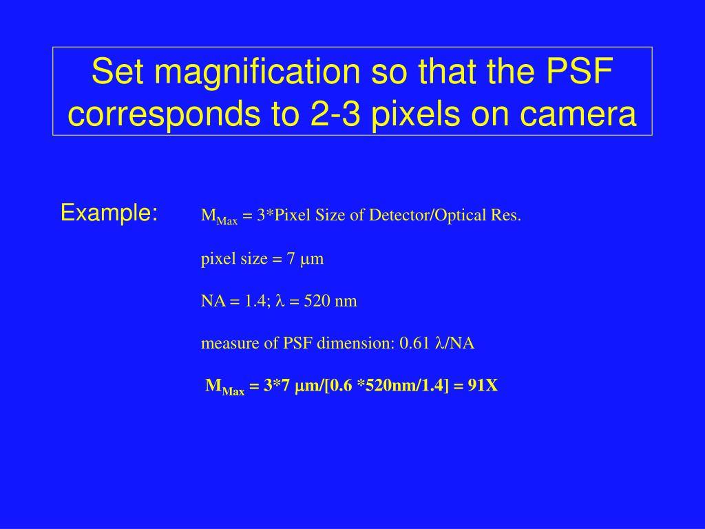 Set magnification so that the PSF