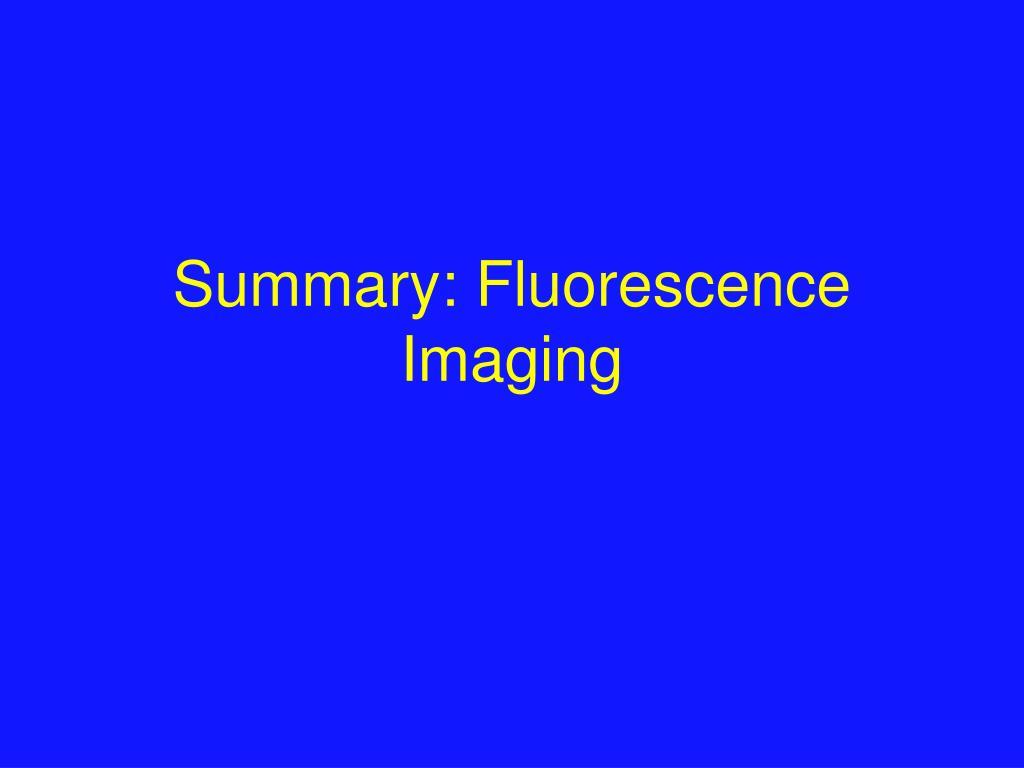 Summary: Fluorescence Imaging