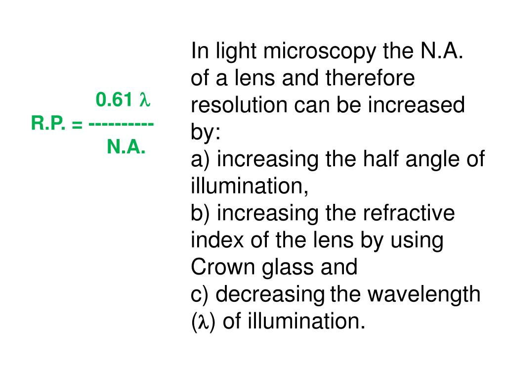 In light microscopy the N.A. of a lens and therefore resolution can be increased by: