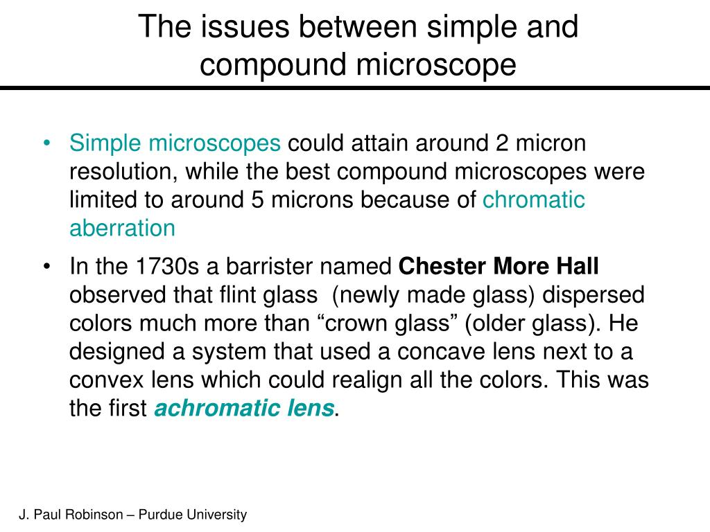 The issues between simple and compound microscope
