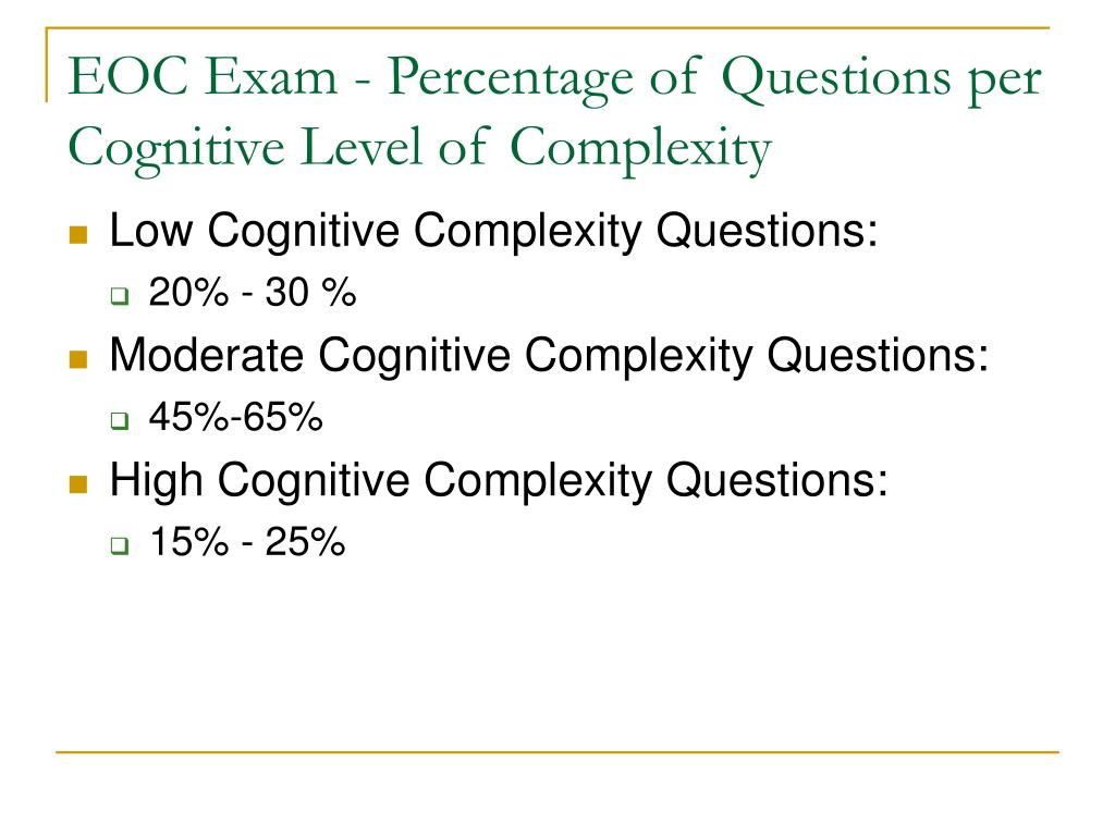 EOC Exam - Percentage of Questions per Cognitive Level of Complexity