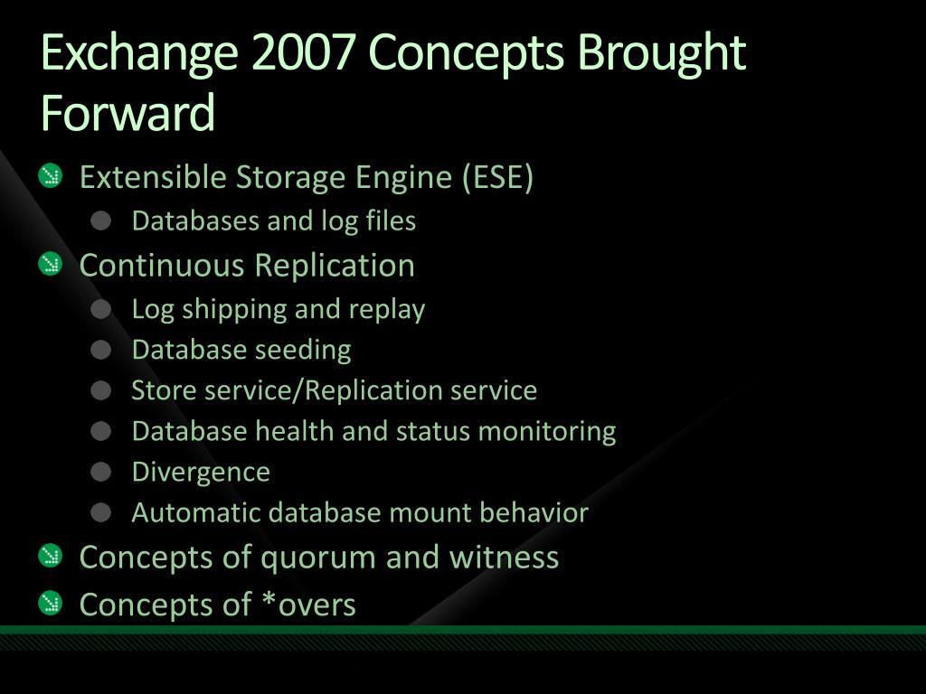 Exchange 2007 Concepts Brought Forward
