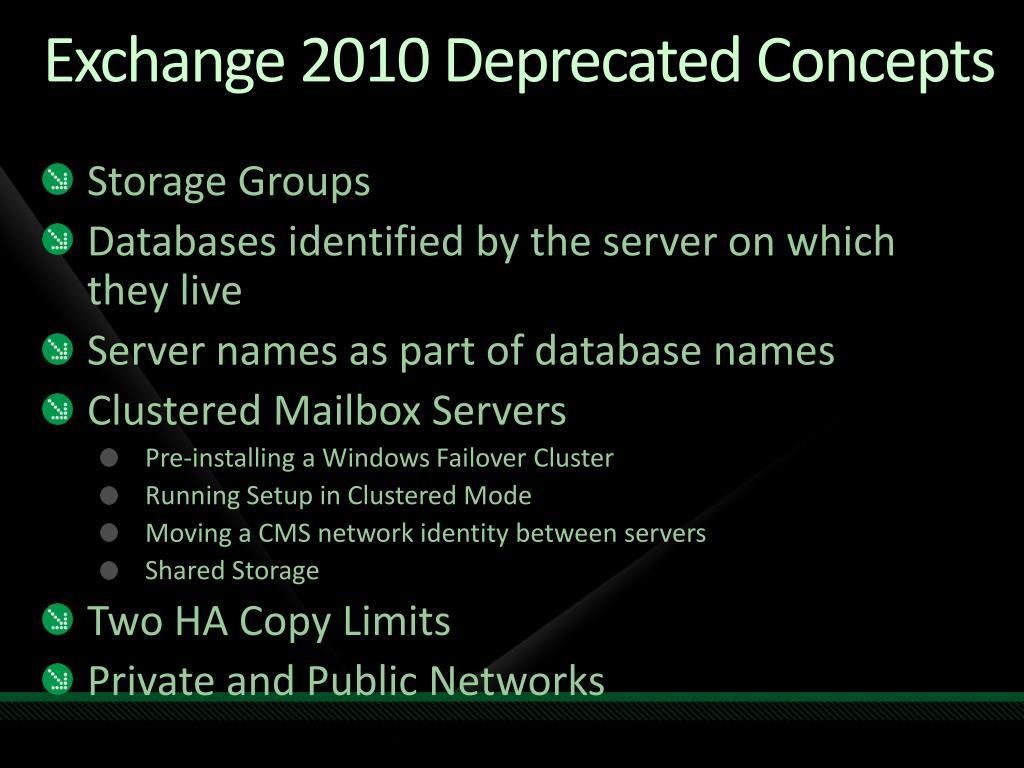Exchange 2010 Deprecated Concepts