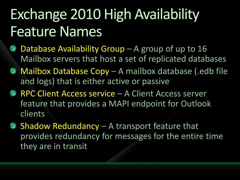 Exchange 2010 High Availability Feature Names