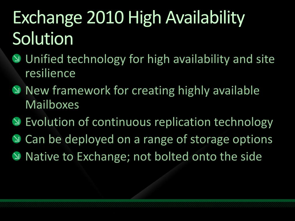 Exchange 2010 High Availability Solution