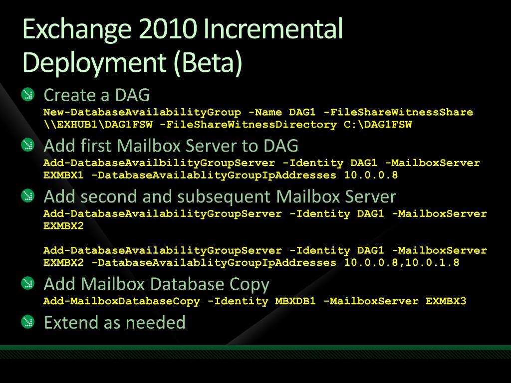 Exchange 2010 Incremental Deployment (Beta)