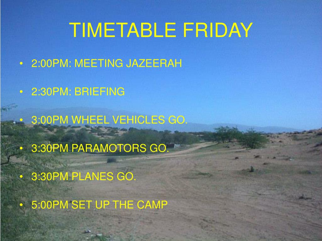 TIMETABLE FRIDAY