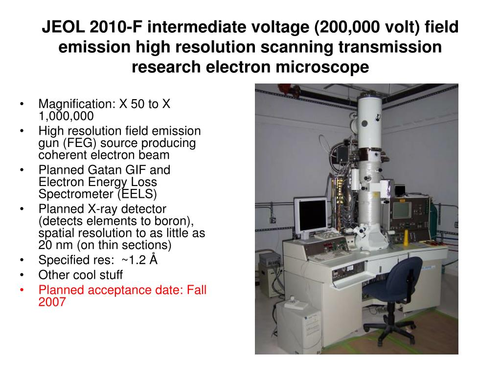 JEOL 2010-F intermediate voltage (200,000 volt) field emission high resolution scanning transmission research electron microscope