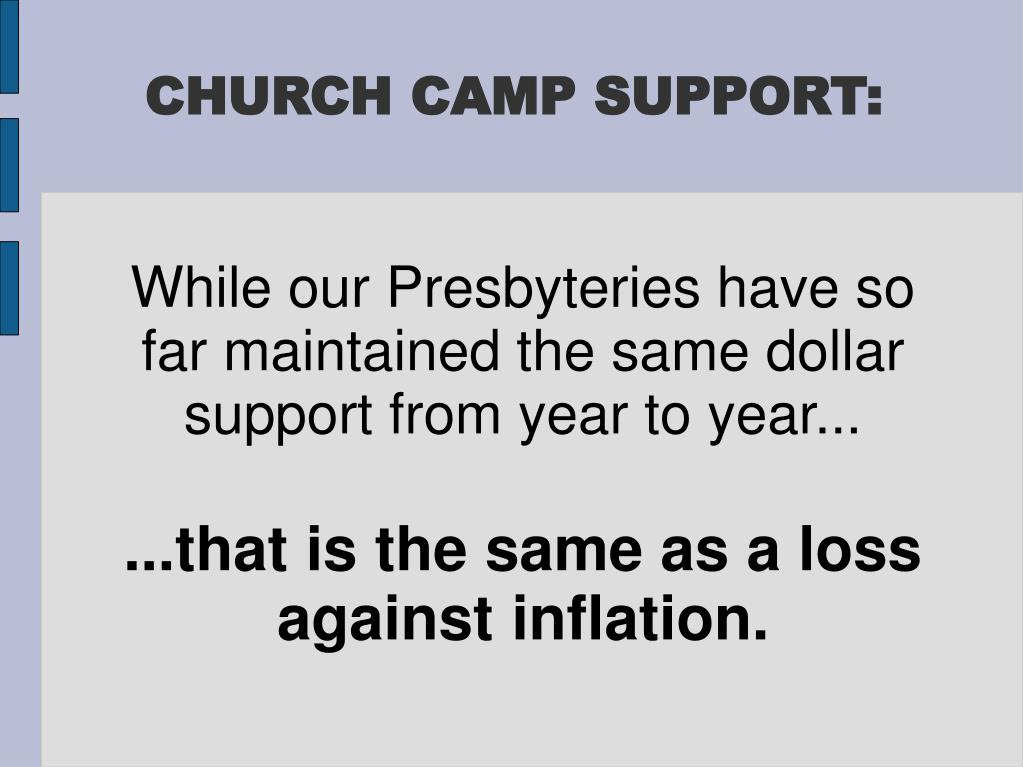 CHURCH CAMP SUPPORT: