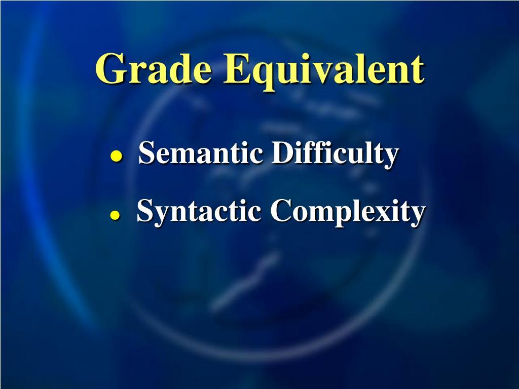 Grade Equivalent