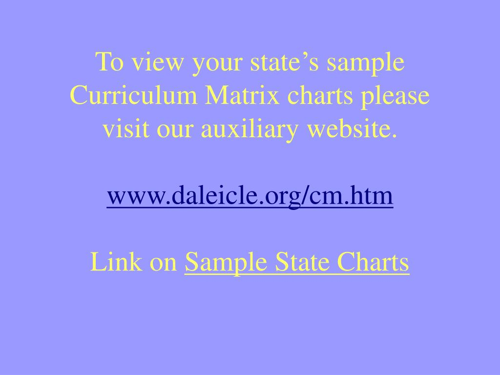 To view your state's sample Curriculum Matrix charts please visit our auxiliary website.