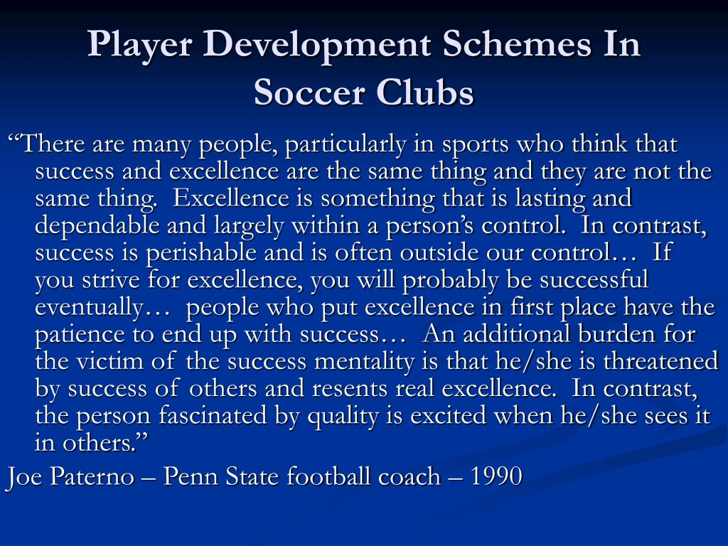 Player Development Schemes In Soccer Clubs