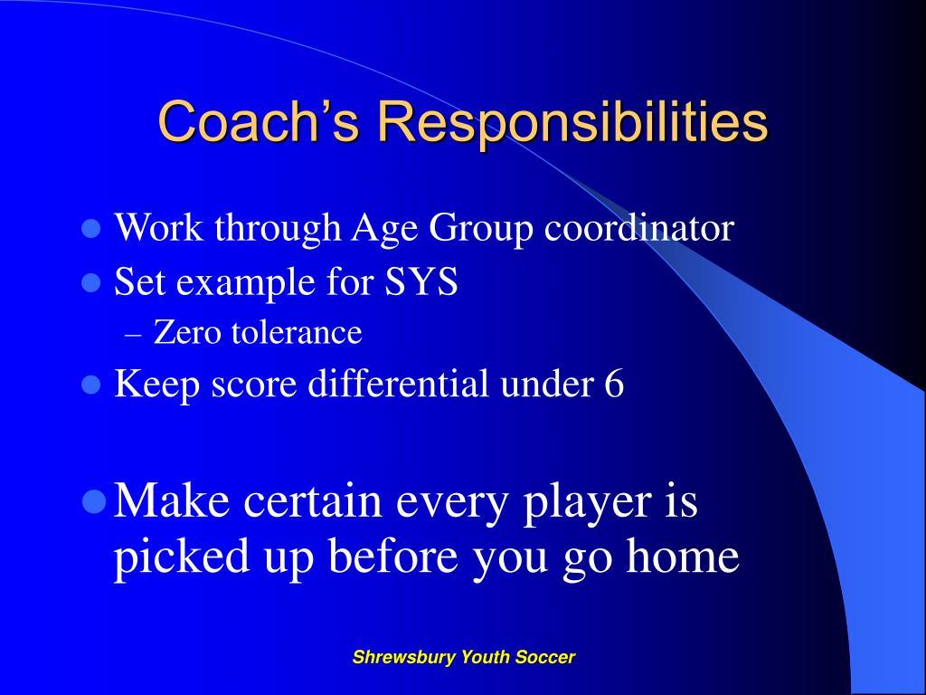 Coach's Responsibilities