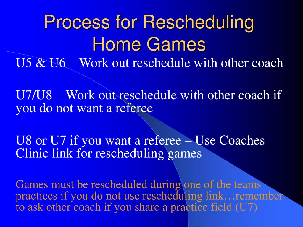 Process for Rescheduling Home Games