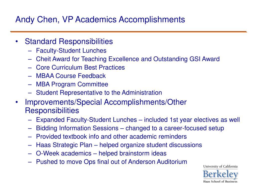Andy Chen, VP Academics Accomplishments
