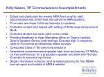 kelly mason vp communications accomplishments