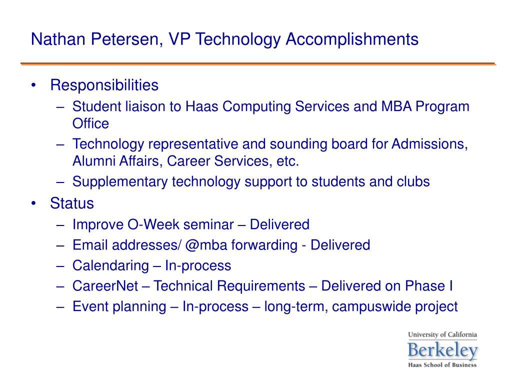 Nathan Petersen, VP Technology Accomplishments